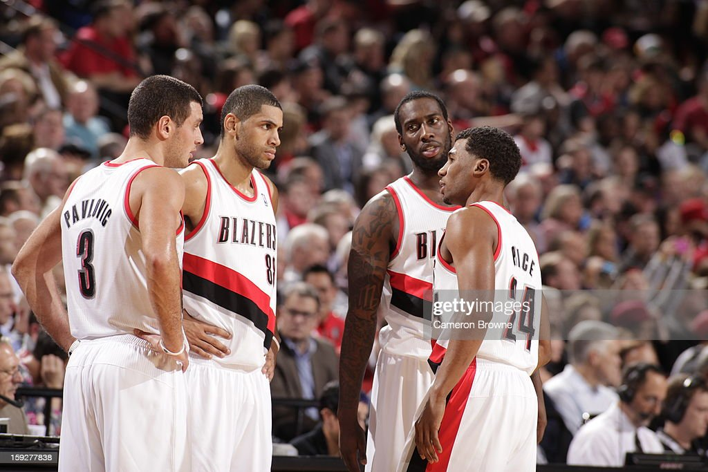 Members of the Portland Trail Blazers meet during a break in play against the Miami Heat on January 10, 2013 at the Rose Garden Arena in Portland, Oregon.