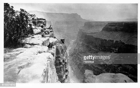 Members of the Powell Survey atop an unknown canyon along the Green or Colorado rivers ca 1871   Location Colorado River Valley USA
