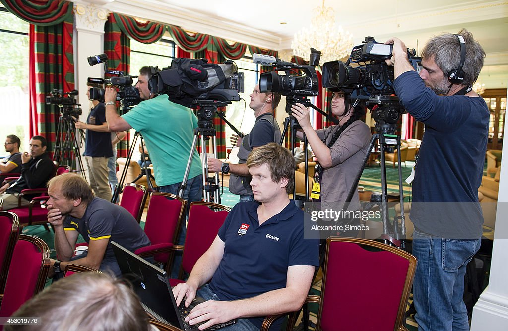 Members of the press attend a Borussia Dortmund press conference on August 1, 2014 in Bad Ragaz, Switzerland.