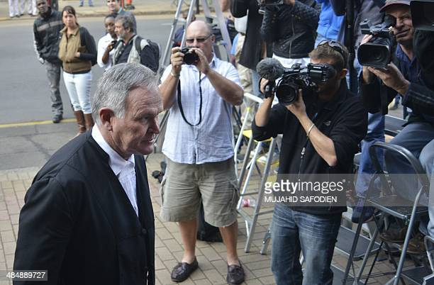 Members of the press film Barry Roux defence lawyer of South African Paralympic track star Oscar Pistorius as he arrives at the North Gauteng High...