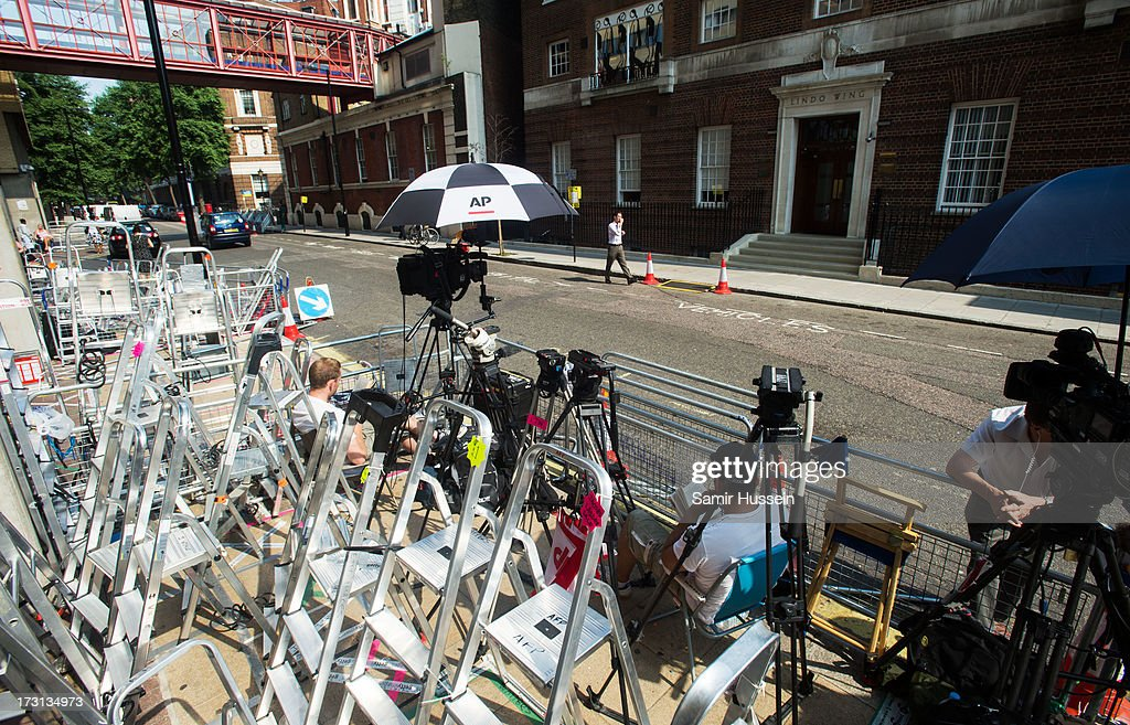 Members of the press set up outside the The Lindo Wing of St Mary's Hospital as the UK prepares for the birth of the first child of The Duke and Duchess of Cambridge at St Mary's Hospital on July 8, 2013 in London, England.