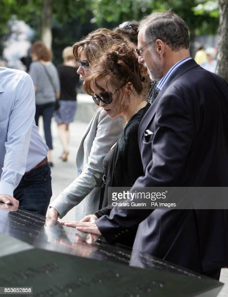 Members of the Prime Minister's Holocaust Commission Natasha Kaplinsky Helena Bonham Carter and Mick Davis during a visit to the 9/11 memorial and...