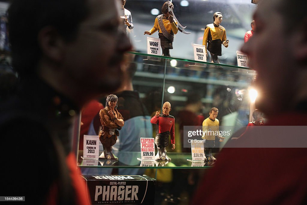 Members of the public admire figures of Star Trek characters at the 'Destination Star Trek London' convention at the ExCeL centre on October 19, 2012 in London, England. The three-day convention, which opened to the general public today, will be attended by all fives actors who played captains throughout the 46 year-old series.