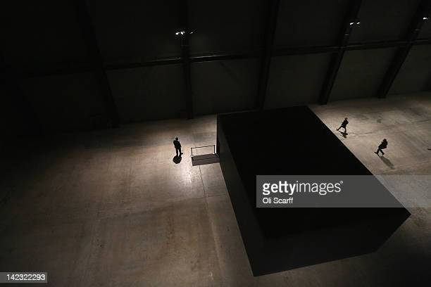 Members of the public arrive to view Damien Hirst's 'For the Love of God' scull in a room in the Turbine Hall of the Tate Modern art gallery on April...