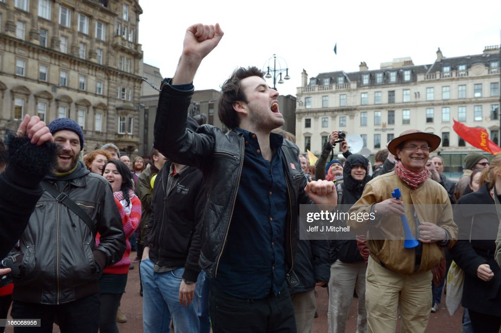 Members of the public celebrate in George Square to mark the death of Baroness Margaret Thatcher on April 8, 2013 in Glasgow, Scotland. It has been confirmed that Lady Thatcher has died this morning following a stroke aged 87. Margaret Thatcher was the first female British Prime Minster and governed the UK from 1979 to 1990. She led the UK through some turbulent years and contentious issues including the Falklands War, the miners' strike and the Poll Tax riots.
