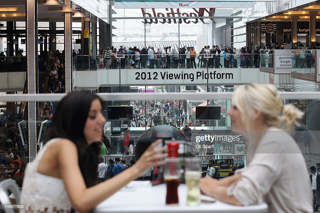 Members of the public dine in the food court of the giant Westfield Stratford shopping mall adjacent to the Olympic Park on July 31 2012 in London...