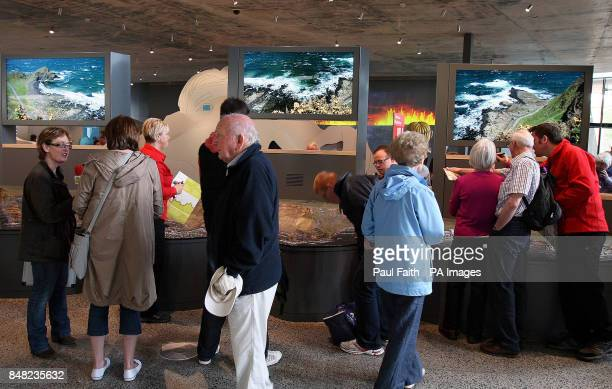Members of the public enjoy the new pound185m Giant's Causeway visitors' centre in County Antrim