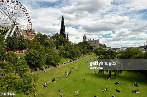 Members of the public in Princes Street Gardens, Edinburgh, Scotland