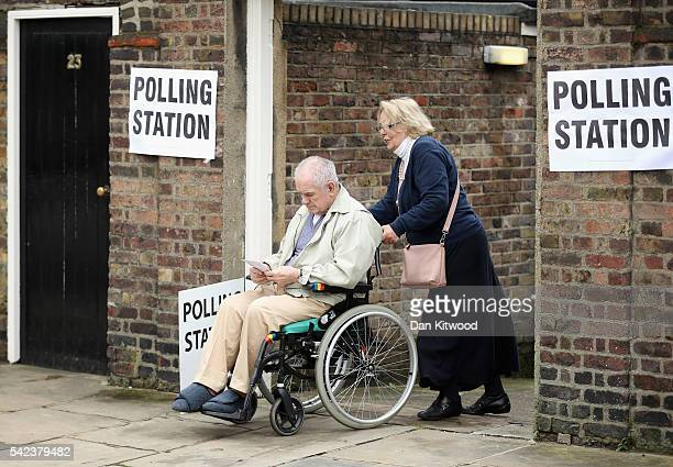 Members of the public leave after voting in the EU referendum at Royal Hospital Chelsea on June 23 2016 in London United Kingdom The United Kingdom...