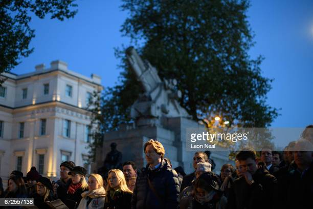Members of the public listen to readings at the Australian War Memorial at Hyde Park Corner during the ANZAC Day dawn service on April 25 2017 in...