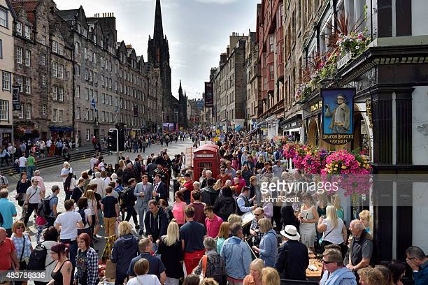 Members of the public on the historic Royal Mile, Edinburgh