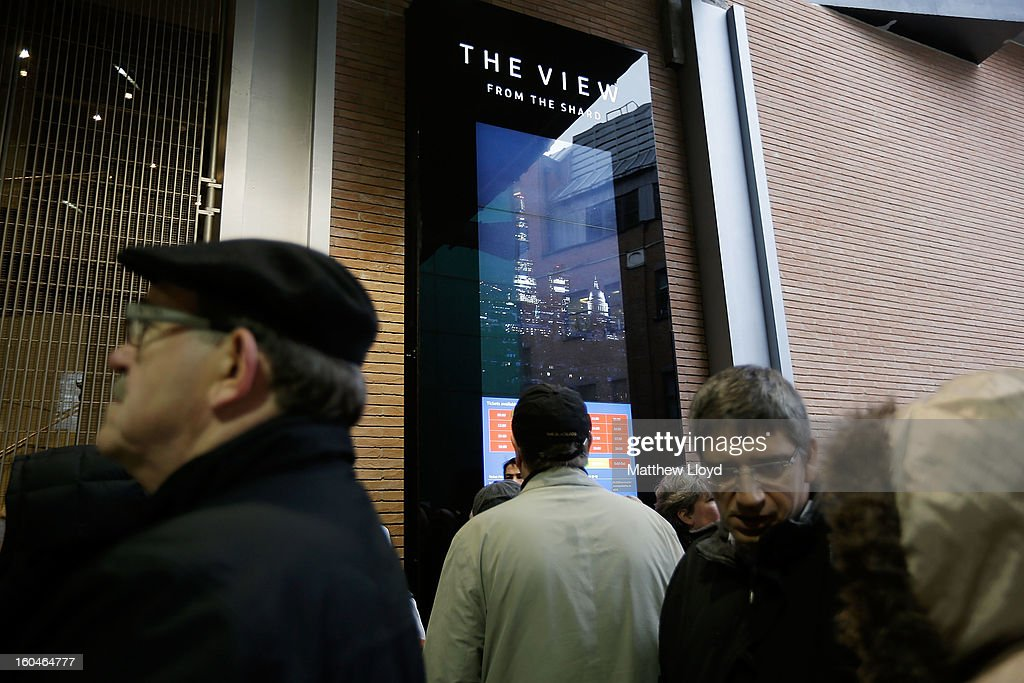 Members of the public queue to enter the View from the Shard on it's opening morning on February 1, 2013 in London, England. Level 72 is the highest viewing gallery in The View from The Shard, and the highest vantage point in Western Europe.