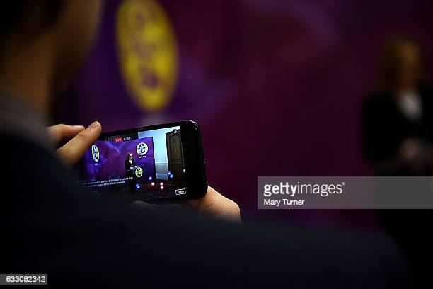 Members of the public react with love hearts and thumbs up icons to a live Periscope feed of the UKIP Health Spokesperson Suzanne Evans giving a...