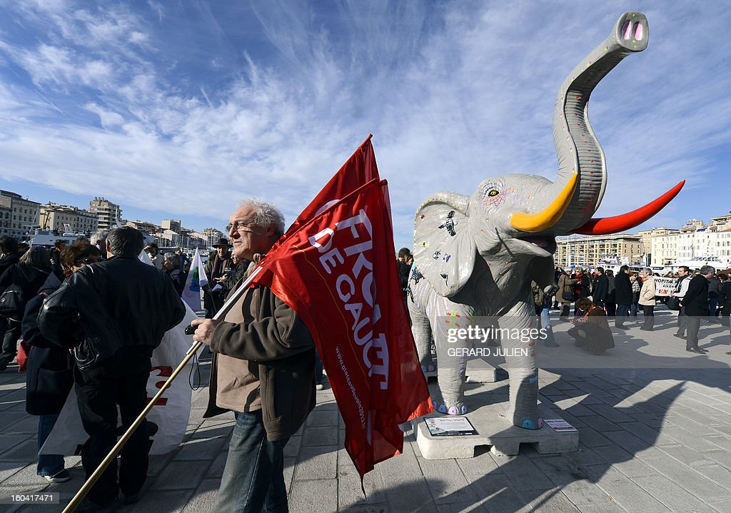 Members of the public sector (education, health and finance) take part on January 31, 2013 in a national day of protest in Marseille, southern France, against the French government's social policy. For the first time since French President Francois Hollande's election, three labour unions (CGT, FSU, Solidaires) called on 5.2 million civil servants to stop working to show to the government their unhappiness, particularly in terms of purchasing power. Banner reads 'Against austerity. Develop public services. Raise salaries. Create employment statutory.'