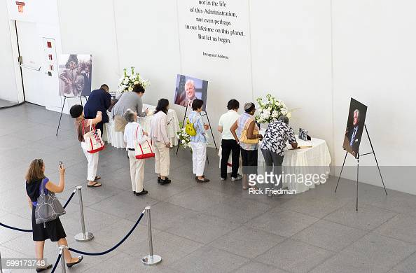 Members of the public signing the condolence books for Senator Edward M Kennedy at the John F Kennedy Library in the Dorchester section of Boston MA...