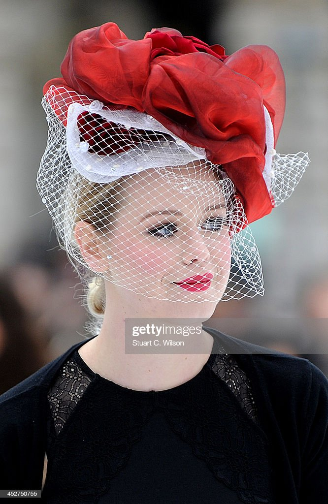 Members of the public skate during a special session where skaters were invited to wear extravagent and eccentric hats in tribute to Isabella Blow at Somerset House on December 1, 2013 in London, England.