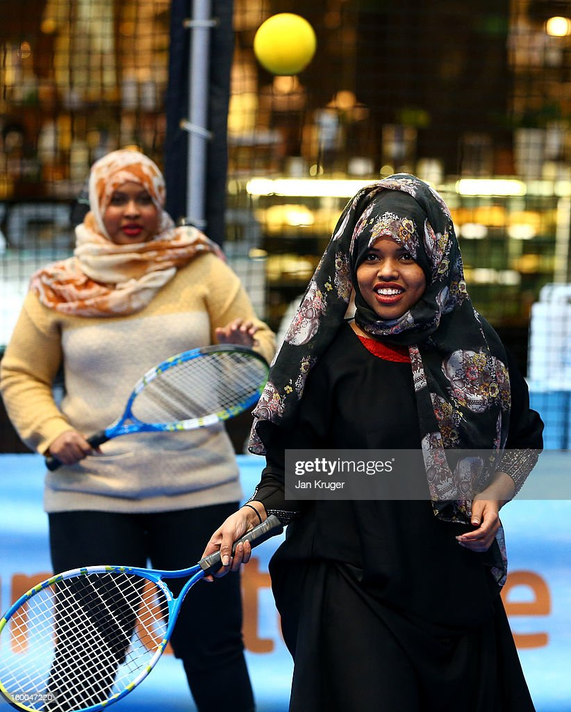 Members of the public take part during a Cardio Tennis session at Westfield London on January 25, 2013 in London, England.