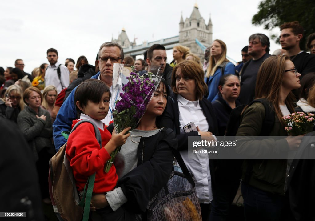 Members of the public take part in a vigil for the victims of the London Bridge terror attacks, in Potters Fields Park on June 5, 2017 in London, England. Seven people were killed and at least 48 injured in terror attacks on London Bridge and Borough Market on June 3rd. Three attackers were shot dead by armed police.