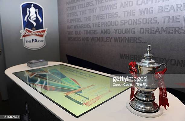 Members of the public take part in the interactive area of the FA Cup Trophy Tour on November 25 2011 in Sheffield England