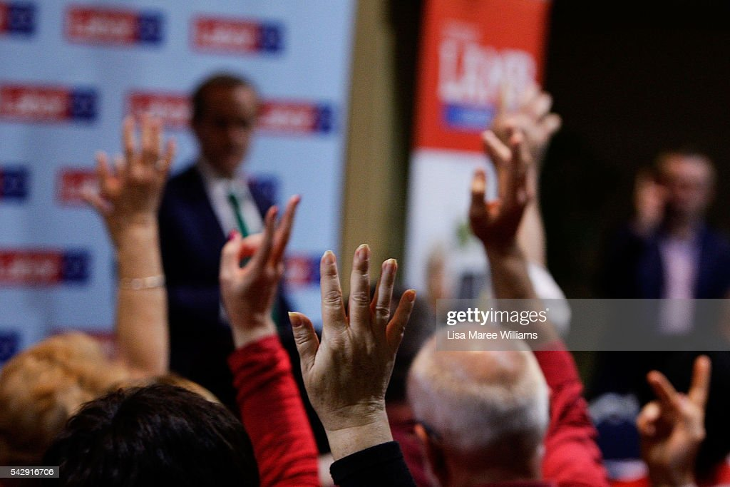 Members of the public that have been touched by suicide raise their hands during a public meeting with Opposition Leader Bill Shorten at the Caboolture RSL on June 25, 2016 in Caboolture, Australia. Bill Shorten launched his positive policies for Queensland including a overhaul of the visa system and continues to campaign heavily on Medicare, promising to make sure it isn't privatised if the Labor Party wins the Federal Election on July 2.