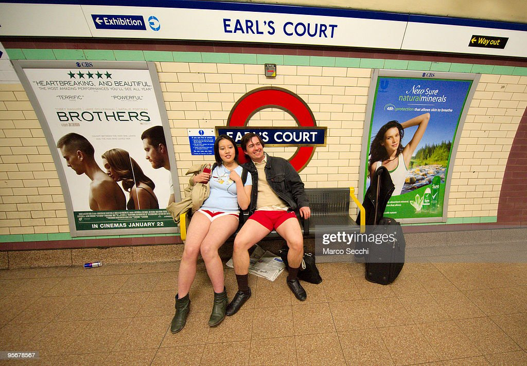 Members of the public travelling on the London underground take part in 'No Trousers on the Tube' on January 10 2010 in London England 'No Trousers...