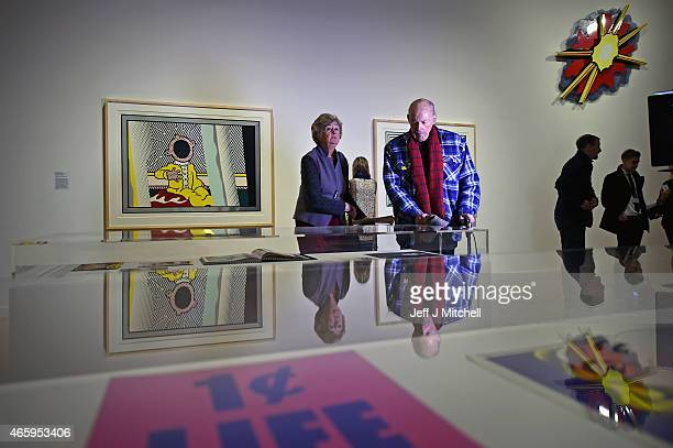 Members of the public view a new exhibition devoted to American Pop artist Roy Lichtenstein which being held at the Scottish National Gallery of...