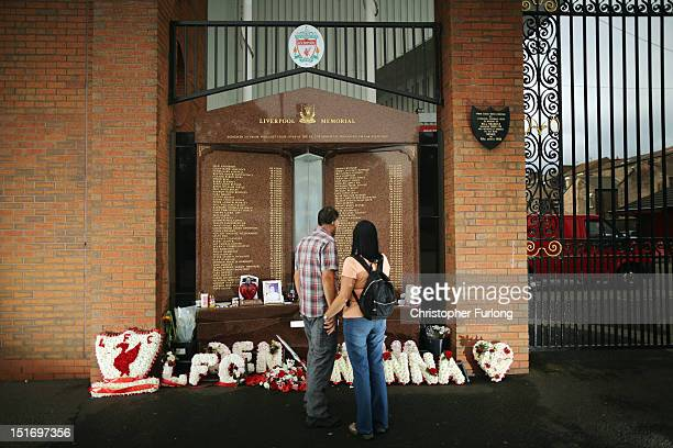 Members of the public view the Hillsborough memorial at Anfield Stadium the home of Liverpool Football Club on September 10 2012 in Liverpool England...