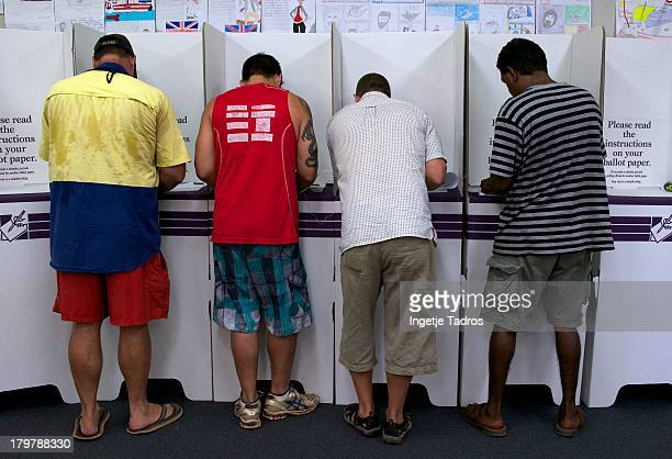 Members of the public vote at Cable Beach Primary School on September 7 2013 in Broome Australia Australians today vote in the Federal Election in...