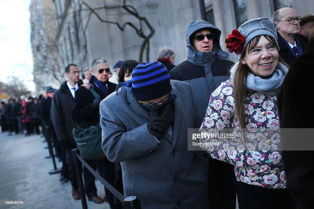 Members of the public wait in the cold to enter funeral services for former New York City Mayor Ed Koch at Manhattan's Temple Emanu-El on February 4, 2013 in New York City.The iconic former New York mayor passed away on February 1, 2013 in New York City at age 88. Ed Koch was New York's 105th mayor and ran the city from 1978-89. He was often outspoken and combative and has been credited with rescuing the city from near-financial ruin during a three-term City Hall run.