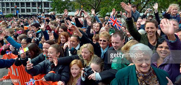 Members of the public wait outside to see the Duke and Duchess of Cambridge after a Palm Sunday service at St Paul's Anglican Cathedral on April 13...