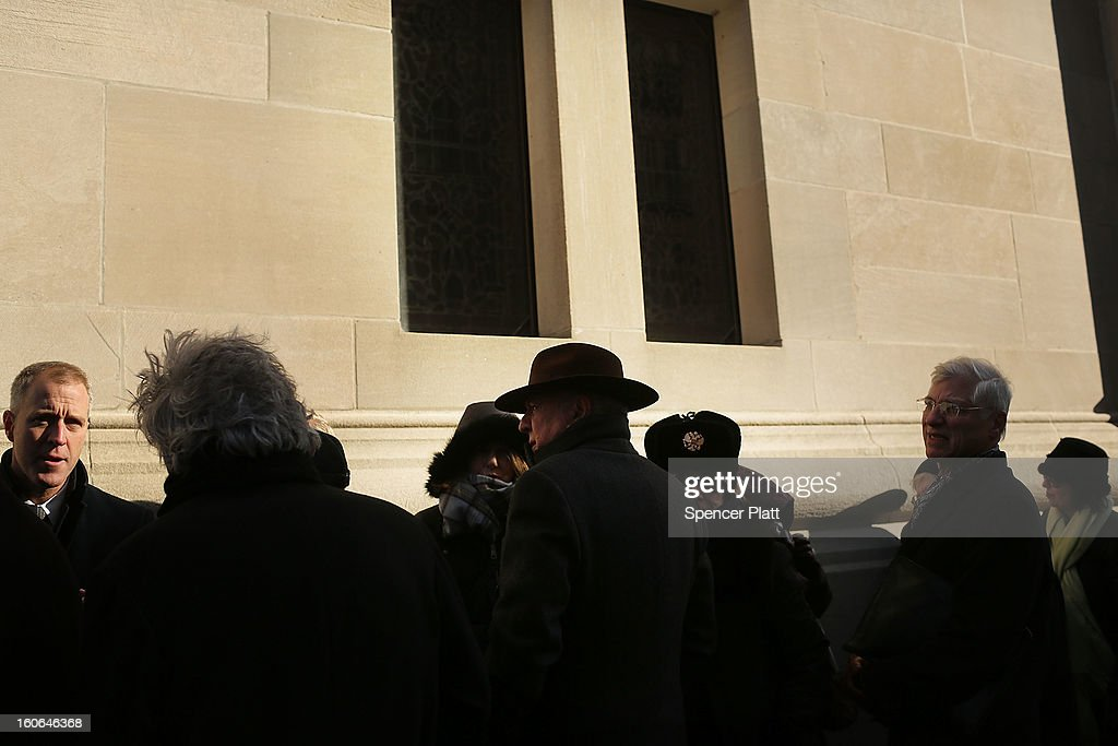 Members of the public wait to enter funeral services for former New York City Mayor Ed Koch at Manhattan's Temple Emanu-El on February 4, 2013 in New York City.The iconic former New York mayor passed away on February 1, 2013 in New York City at age 88. Ed Koch was New York's 105th mayor and ran the city from 1978-89. He was often outspoken and combative and has been credited with rescuing the city from near-financial ruin during a three-term City Hall run.