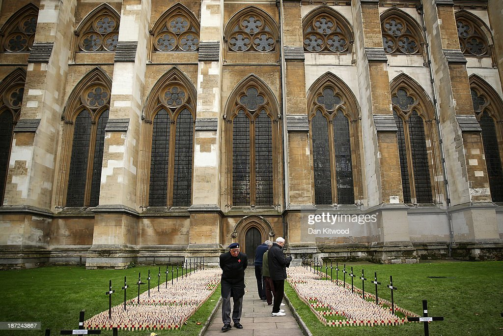 Members of the public walk through remembrance cross using binoculars outside Westminster Abbey after the official opening of the Royal British Legion's Field of Remembrance on November 7, 2013 in London, England. Hundreds of small crosses bearing a poppy have been planted in the Field of Remembrance to pay tribute to British servicemen and women who have lost their lives in conflict.