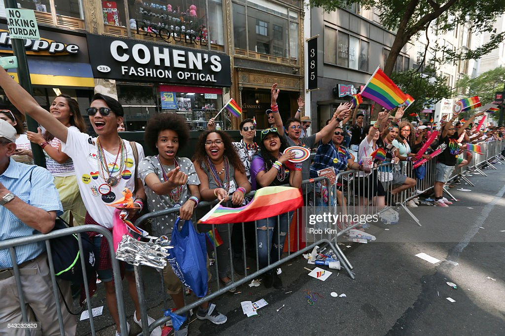 Members of the public watch the 2016 LGBT Pride March on June 26, 2016 in New York City.