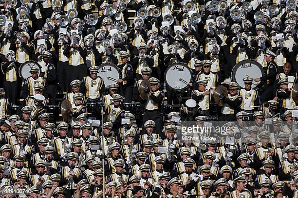 Members of the Purdue Boilermakers marching band are seen in the stands during the game against the Virginia Tech Hokies at RossAde Stadium on...