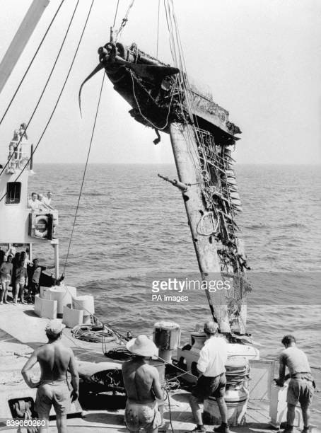 Members of the RAF SubAqua Club in Malta see part of a wartime Spitfire being raised from the sea bed off Gozo a small island to the north It took...