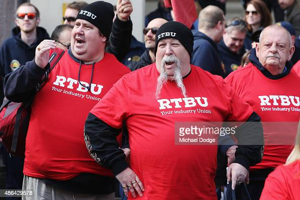 Members of the Rail Tram and Bus Union State protest at Flinders Street Station during their strike on September 4 2015 in Melbourne Australia The...