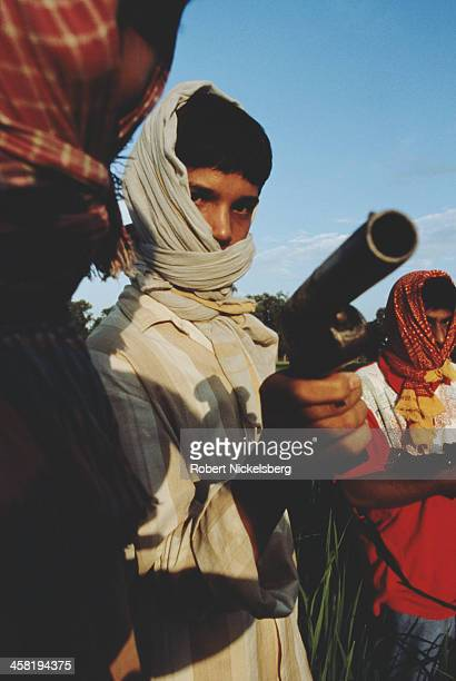 Members of the Ranvir Sena an upper caste militia in Bihar India circa 1995