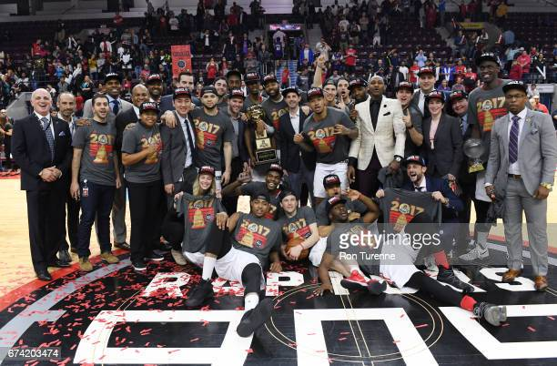 Members of the Raptors 905 celebrate after they defeated the Rio Grande Valley Vipers in Game Three of the DLeague Finals to win the championship at...