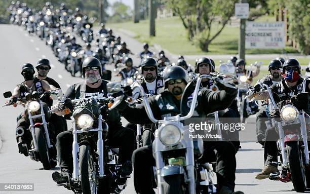 Members of the Rebels bikie club on the Pacific Highway near Sandgate on their way to Newcastle where they spent the night as part of the club's...