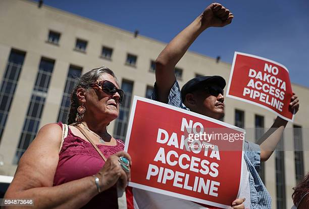 Members of the Red Lake Nation participate during a rally on Dakota Access Pipeline August 24 2016 outside US District Court in Washington DC...