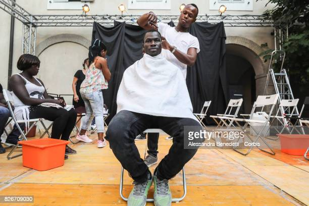 Members of the Refugee Theatre Company attend the rehearsal of AfricaBar stage show on July 31 2017 in Rome Italy Aim of this project was to give...