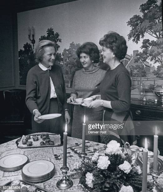 Members of the regular ticket committee for Deb Ball talking over coffee are from left Mrs Robert McCollum Mrs Ted Paul Stockmar and Mrs Walter A...