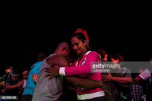 Members of the Revolutionary Armed Forces of Colombia dance during a Cultural event at the 10th National Guerrilla Conference in Llanos del Yari...