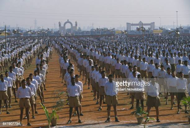 Members of the right wing Hindu nationalist organization Rashtriya Swayamsevak Sangh hold their annual meeting December 4 1995 on the outskirts of...