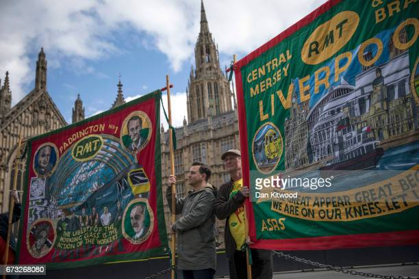 Members of the RMT Union stage a protest outside the Houses of Parliament on April 26 2017 in London England The event marks the oneyear anniversary...