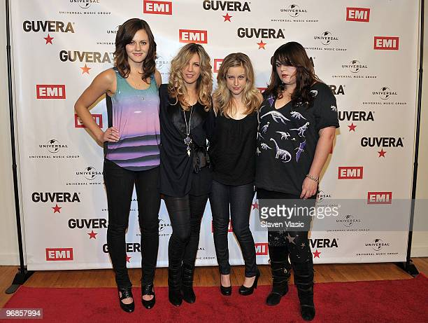 Members of the rock band The Donnas Brett Anderson Allison Robertson Torry Castellano and Maya Ford attend the Guvera PreLaunch Party at the...