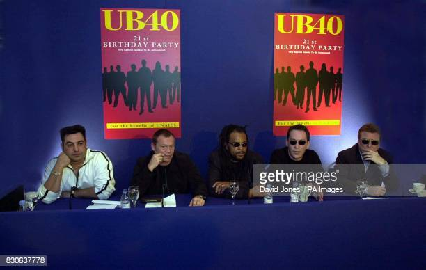 Members of the rock band UB40 Norman Hassan Ali Campbell Astro Robin Cambell and Brian Travers at their recording studios in Birmingham where they...