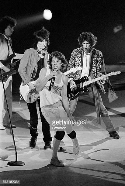 Members of the rock group The Rolling Stones guitarist Ron Wood lead singer Mick Jagger and guitarist Keith Richards performing in the first of five...
