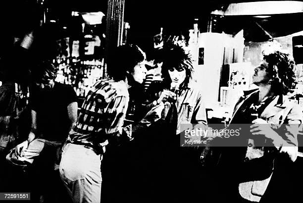 Members of the Rolling Stones at Trax nightclub New York 23rd September 1977 Left to right Charlie Watts Mick Jagger Ron Wood and Keith Richards