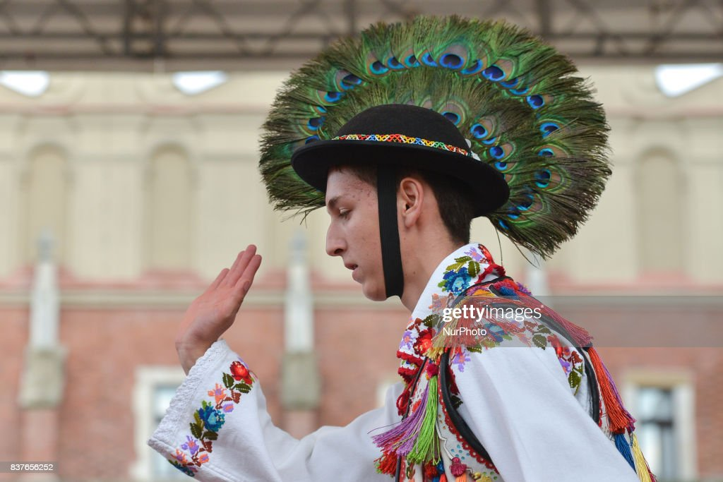 Members of the Romanian folk group 'Ansamblul Folcloric - Somesul Beclean' during 'Romania Day' at the 41st International Folk Art and Craft Fair in Krakow. On Tuesday, August 22, 2017, in Krakow, Poland.